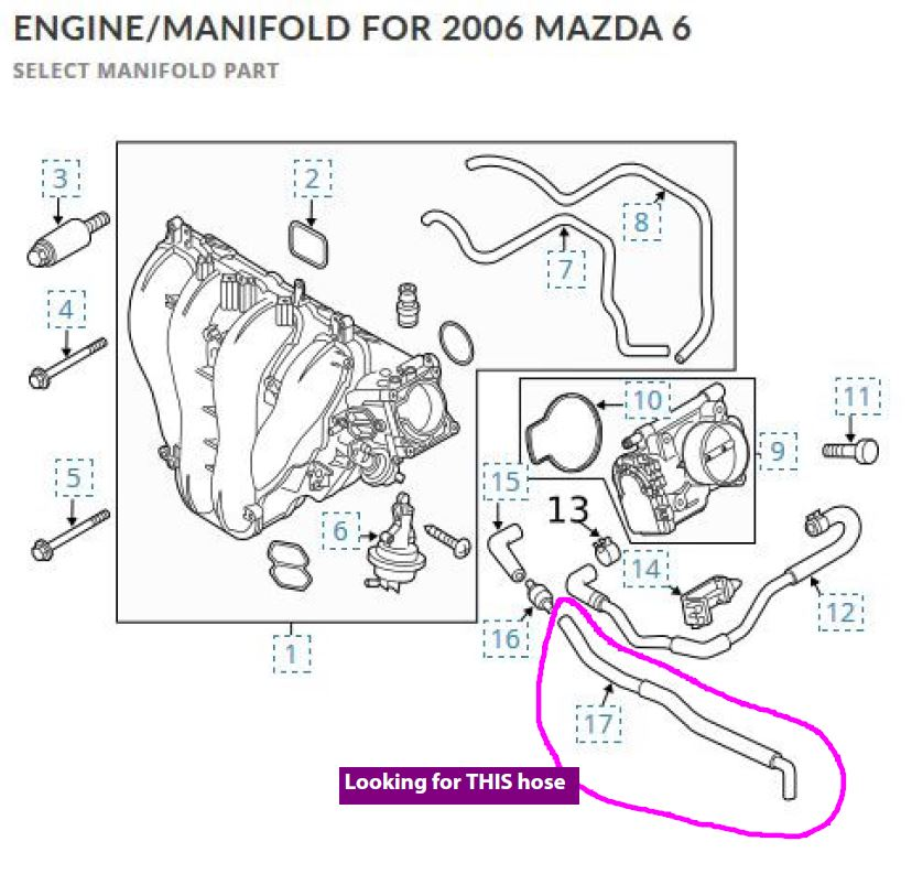 Hose from air box to throttle body F8L7-13-104: now a cap