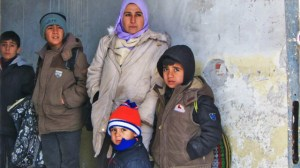 A Syrian family at Harmanli refugee reception centre, near the Bulgaria-Turkey border