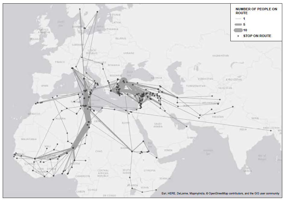 No direct flight: new maps show the fragmented journeys of migrants and refugees to Europe