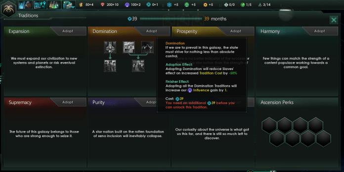 Ecrã de 'tradições em Stellaris