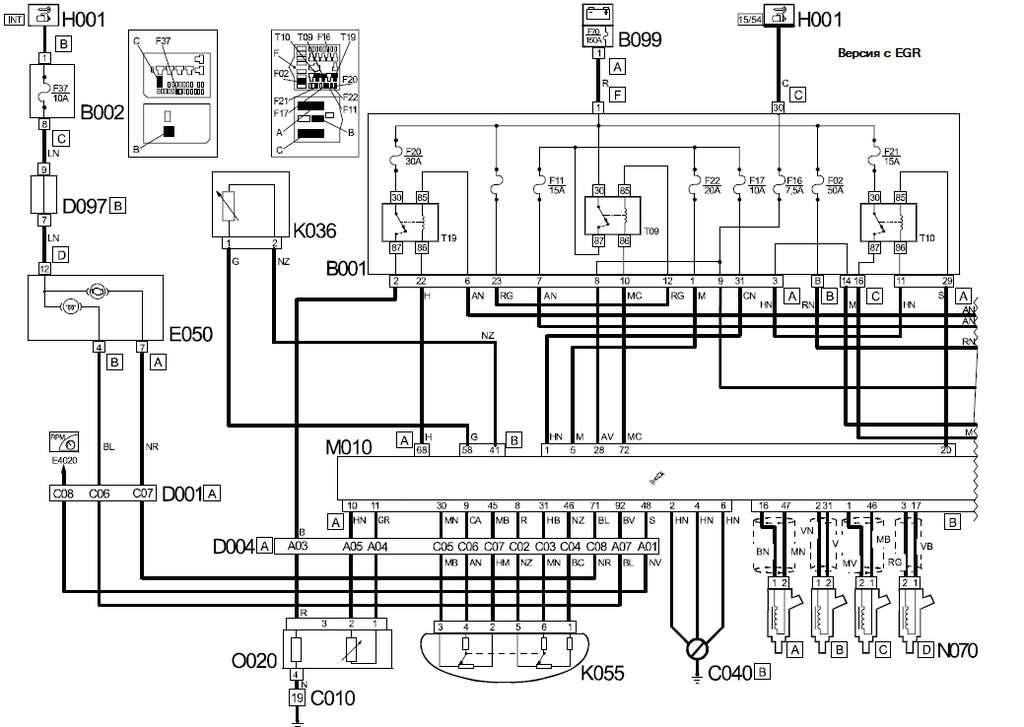 Электрическая схема дукато| Обозначения на схемах