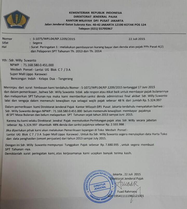 Begini Tampilan Surat Penipuan Mengatasnamakan Pegawai Pajak