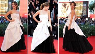 A atriz italiana Isabella Ragonese, embaixadora do Festival de Veneza 2010, foi à premiére do filme Black Swan usando um tomara-que-caia branco com saia de tule preto