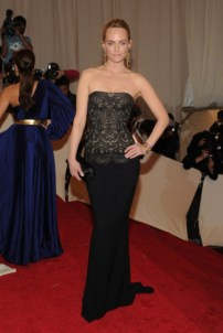 Amber Valletta, in Stella McCartney, with Fred Leighton jewels and Casadei shoes.