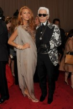 Blake Lively, in Chanel Haute Couture, with Karl Lagerfeld, in Tom Ford.