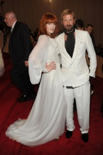 Florence Welch, in Yves Saint Laurent, with designer Stefano Pilati.