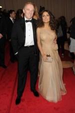 François-Henri Pinault, in Alexander McQueen, with Salma Hayek, in Alexander McQueen, with an Alexander McQueen clutch.