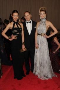Liu Wen, in Alexander McQueen; John Demsey; and Constance Jablonski, in Alexander McQueen.