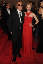 Michael Kors, with Dianna Agron, in a dress by the designer.