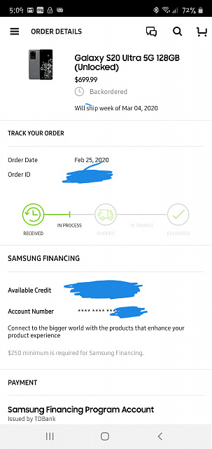 Samsung Financing Account Number : samsung, financing, account, number, Samsung.com, Orders, Android, Forums, AndroidCentral.com
