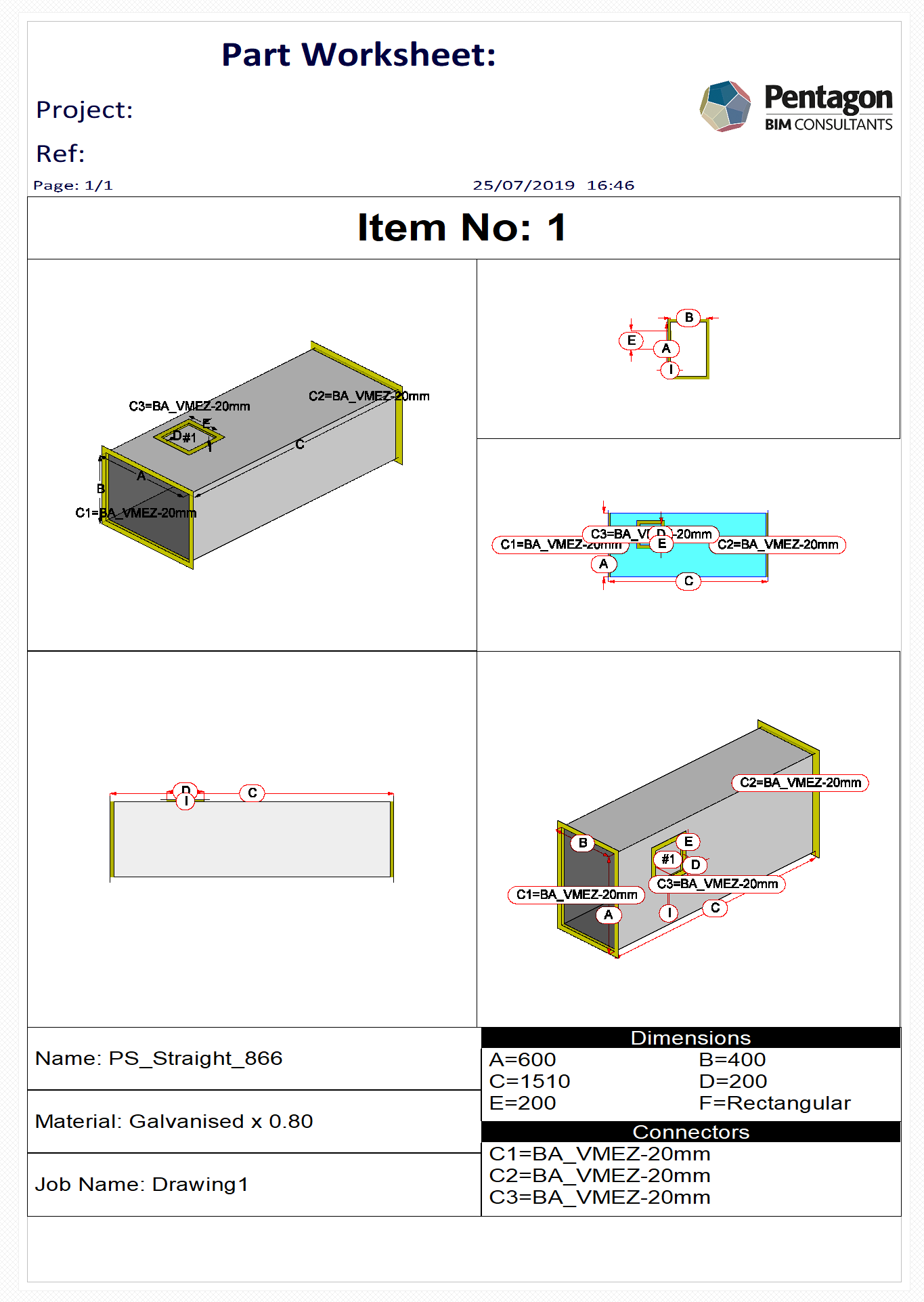 Solved Duct Opening Hole Dimensions To Show In Worksheets
