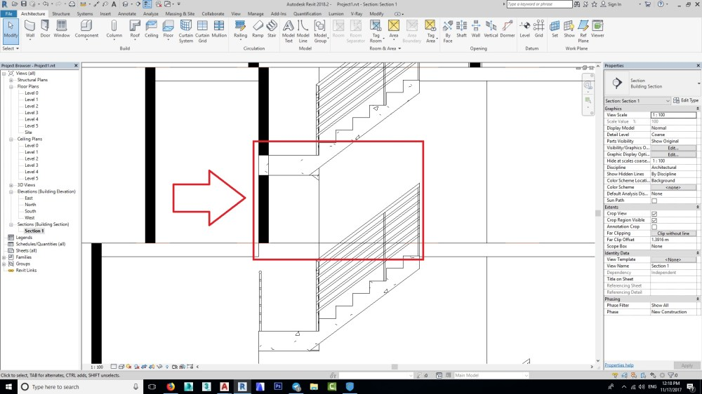 medium resolution of show stiar in section show stair part that behind the section line