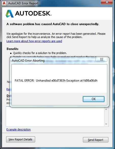 Autocad Fatal Error Unhandled E06d7363h : autocad, fatal, error, unhandled, e06d7363h, 2018:, Fatal, Error:, Unhandled, E06d7363h, Autodesk, Community, AutoCAD