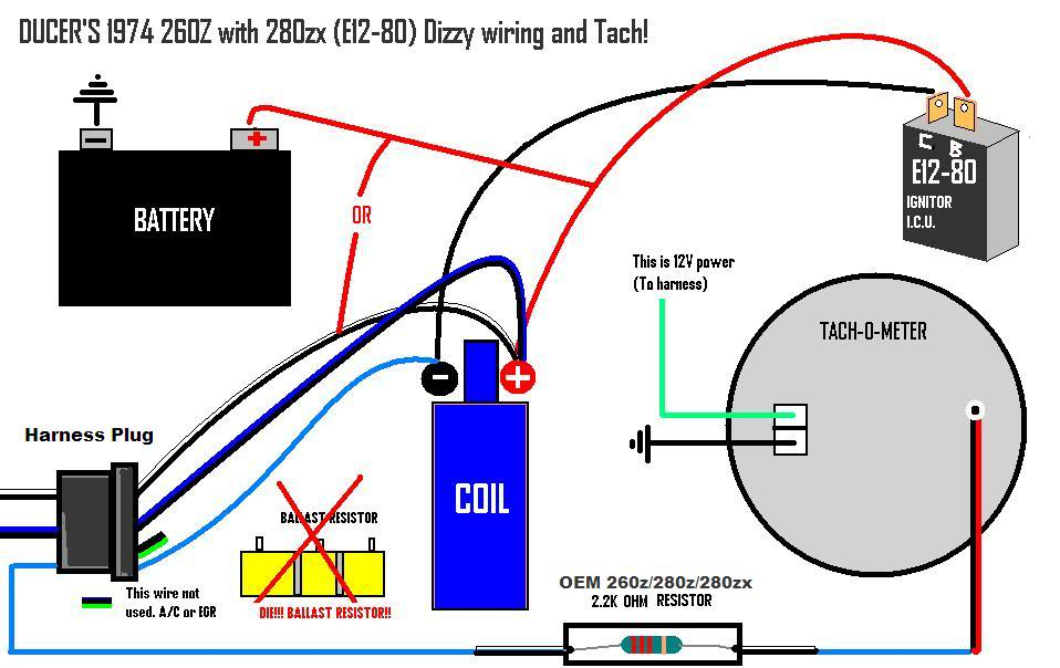 For Electronic Ignition Wiring Diagram For Ih 280zx Distributor On A 74 260z Ignition And Electrical