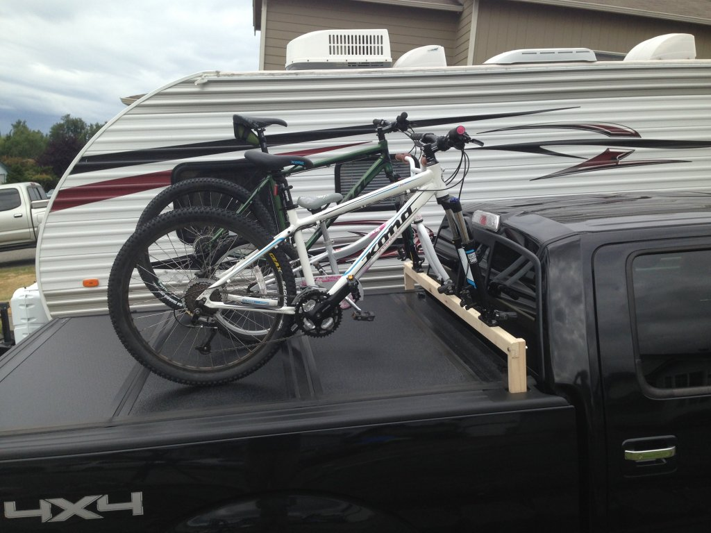 Home made bike rack compatible with Undercover Tonneau
