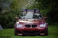 BMW M5 w/ roof rack and bike carrier