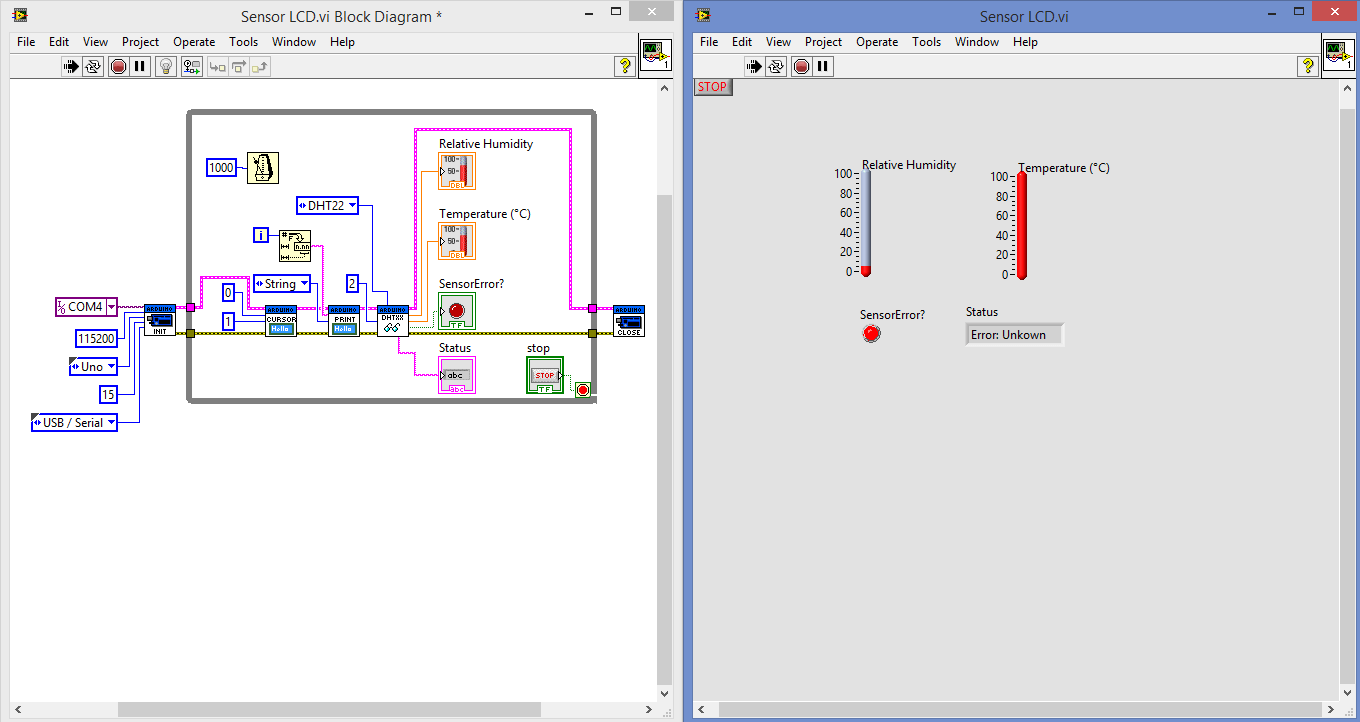 hight resolution of when lcd lcd2004 i2c vi is connected with my dht22 read vi in my block diagram the lcd is working showing no of loop but dht22 showing fluctuating data