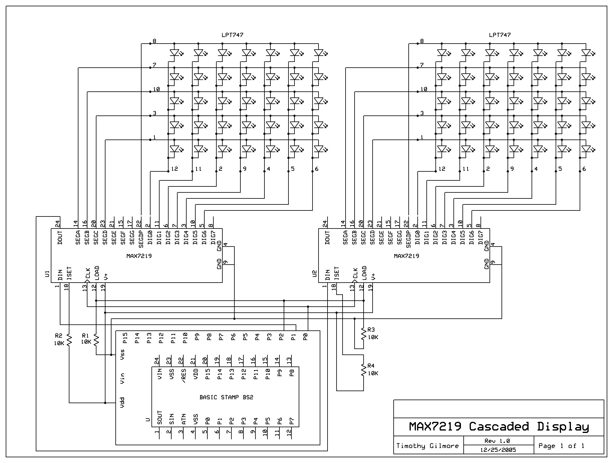 Help needed to cascade 2 or more MAX 7219 LED driver ICs