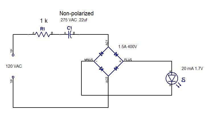 ac capacitor led circuit