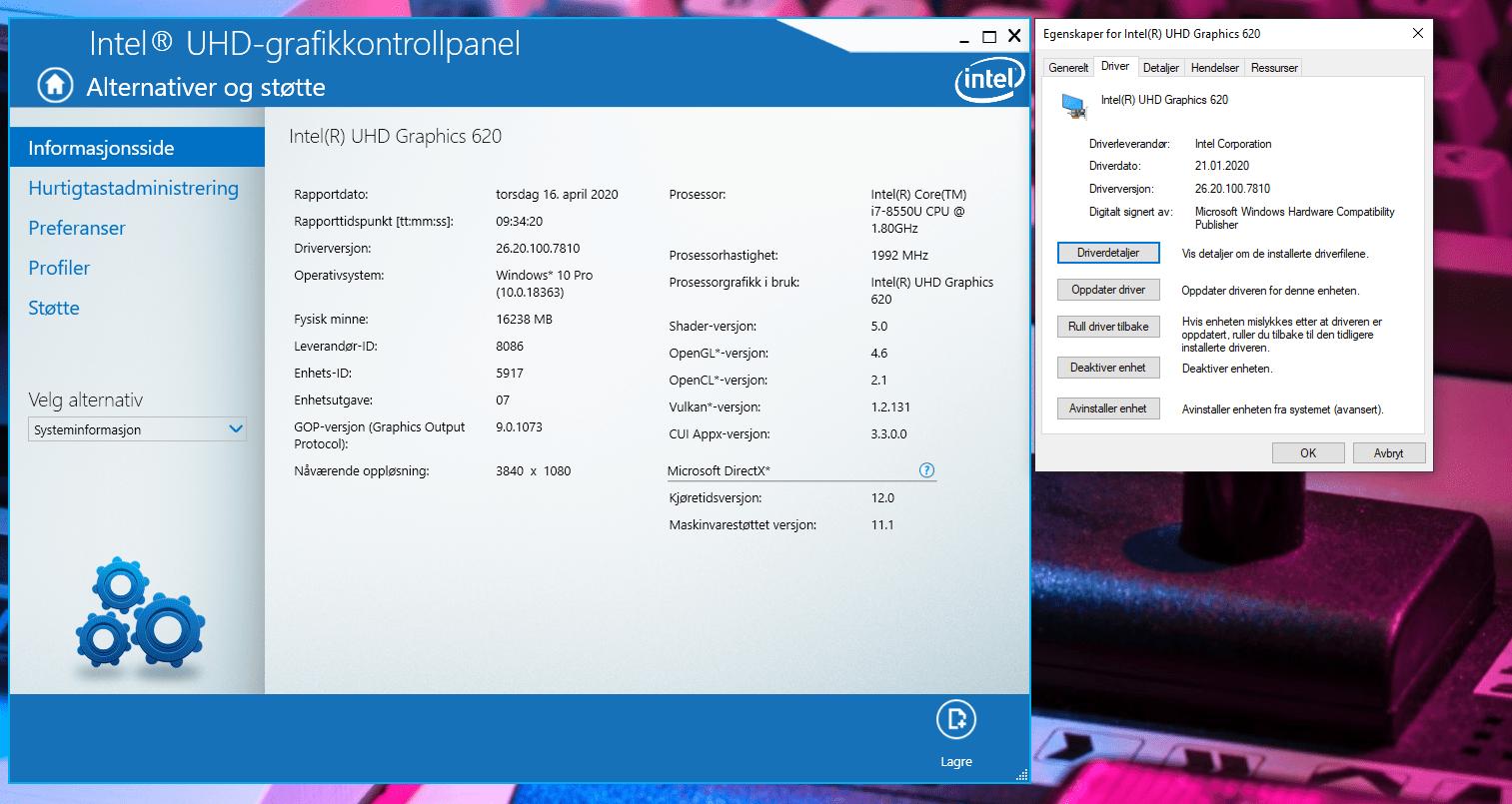 Intel UHD Graphics 620 version 26.20.100.7810 can't handle 5120 x 1440 resolution-English Community