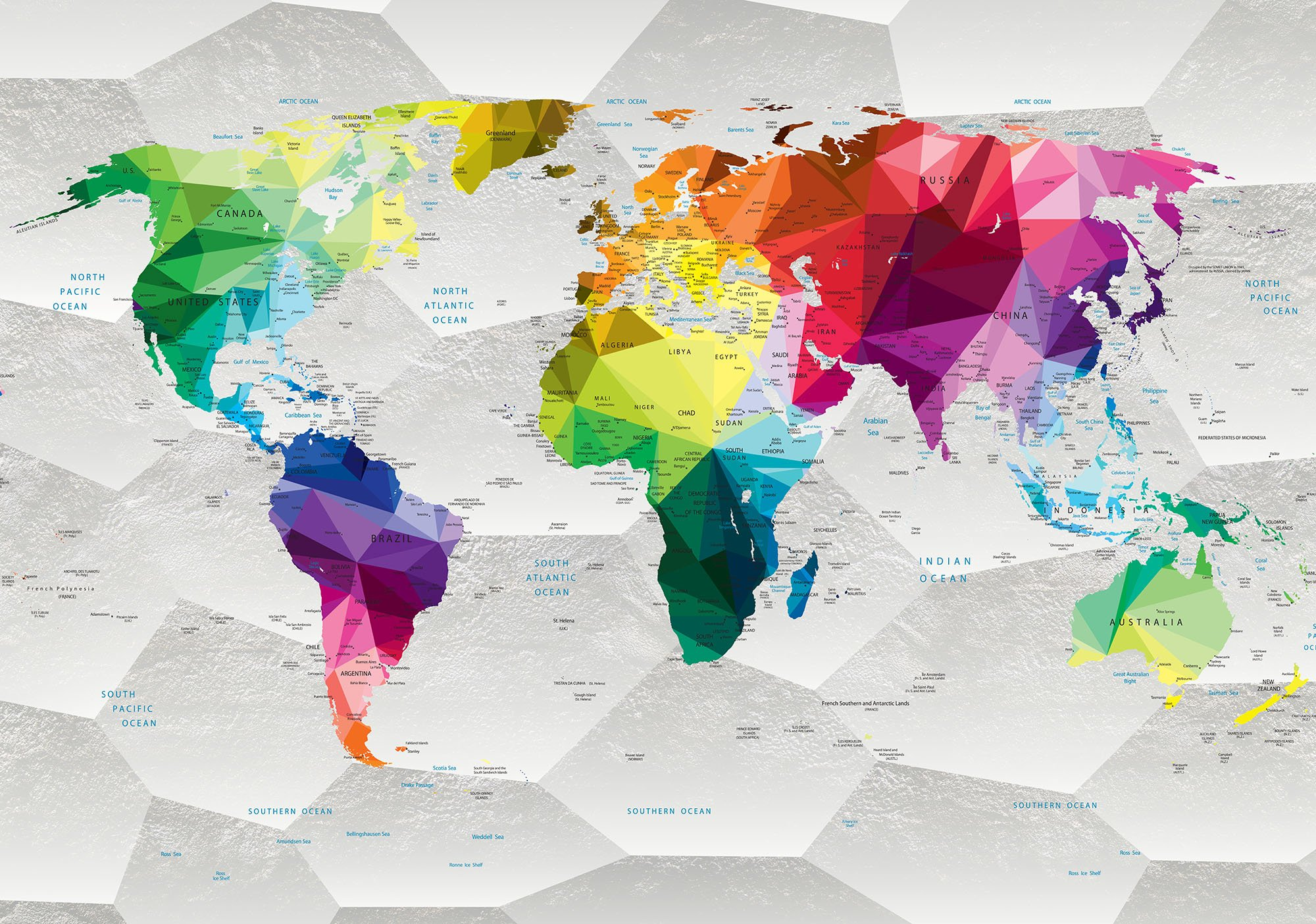 colorful map forwall