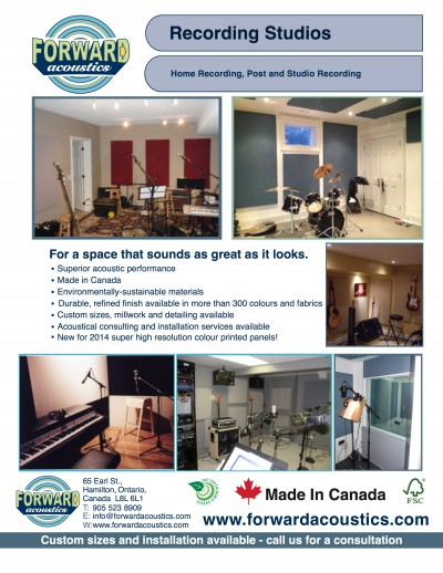 Forward Acoustics Recording Studios Application Sheet