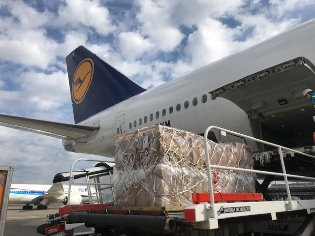 Lufthans Cargo flight being loaded.