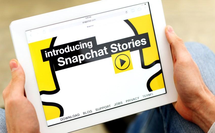 pantalla con imagen de snapchat en un ipad