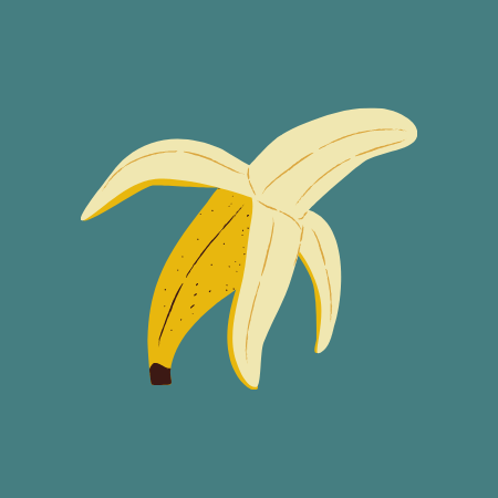 Peeled banana illustration on green background