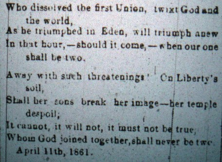 Second part of poem from Frederick Examiner