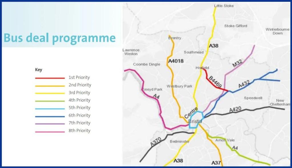 Bristol Bus Deal (September 2019) - proposed priority corridors