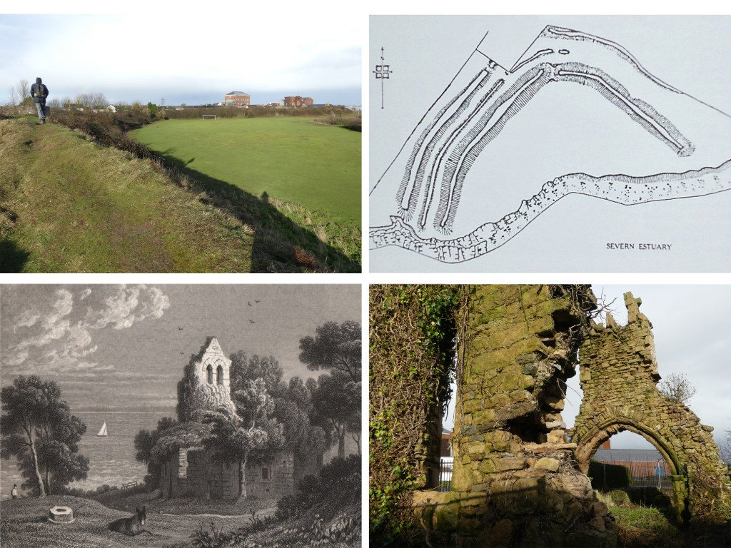 Top left - iron age fort with Sudbrook pumping station beyond; top right – plan of fort; bottom left – etching of Trinity Chapel from 1835; bottom right – delicate state of Trinity Chapel today