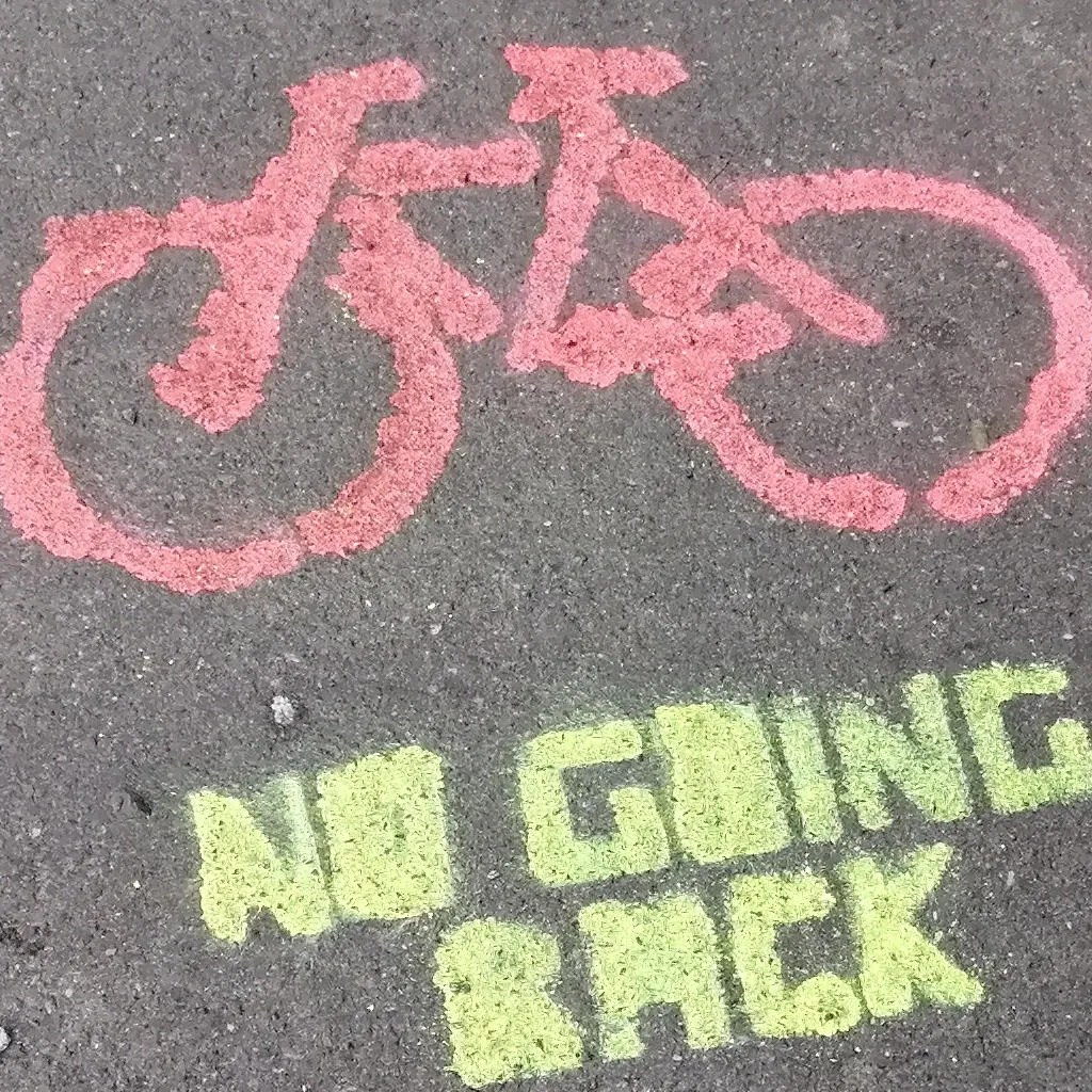 Picture of bicycle with slogan 'No going back'