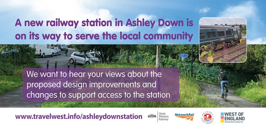 Bristol City Council social media slide for Ashley Hill station engagement