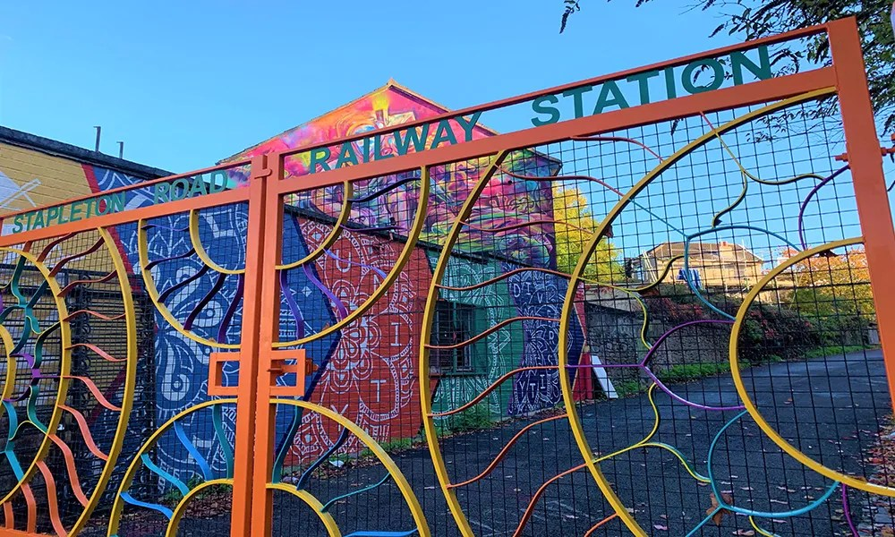 Stapleton Road – gate from Stapleton Road designed and made by Mary Reynolds