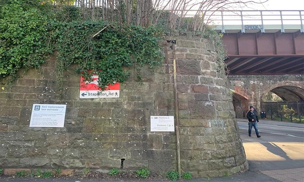 Stapleton Road - overgrown station sign