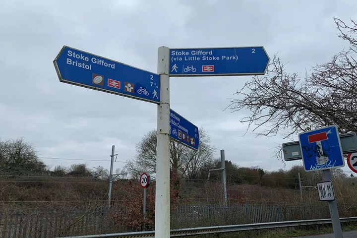 Sign near Patchway station - would you know where the closest station was?