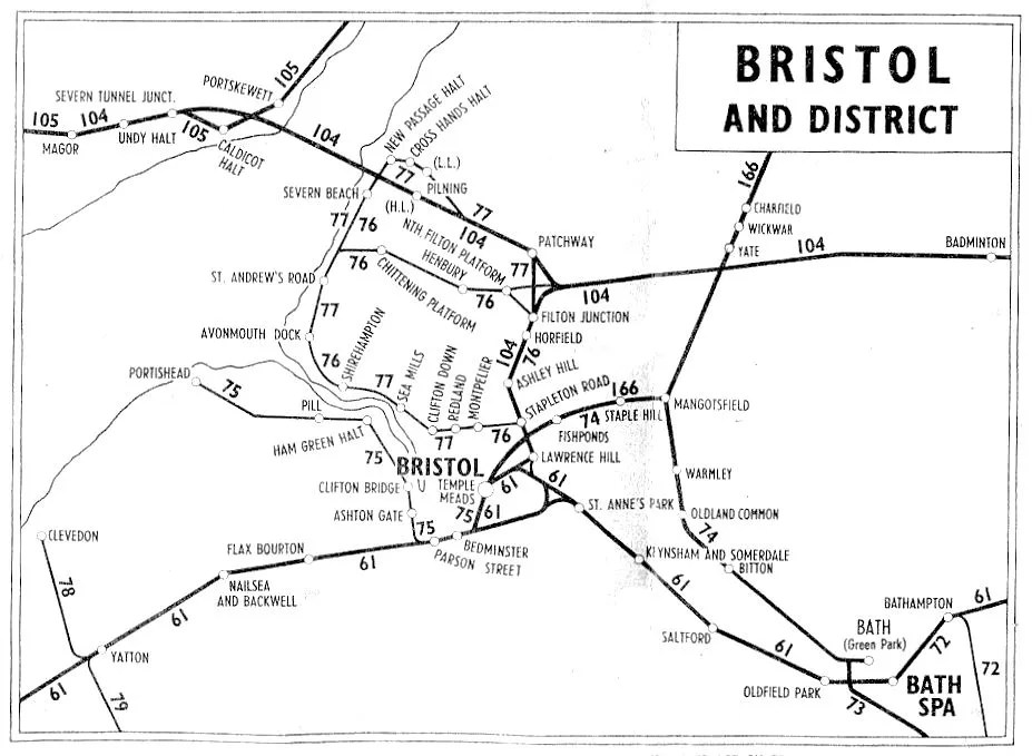 Local rail map from British Railways 1951 timetable