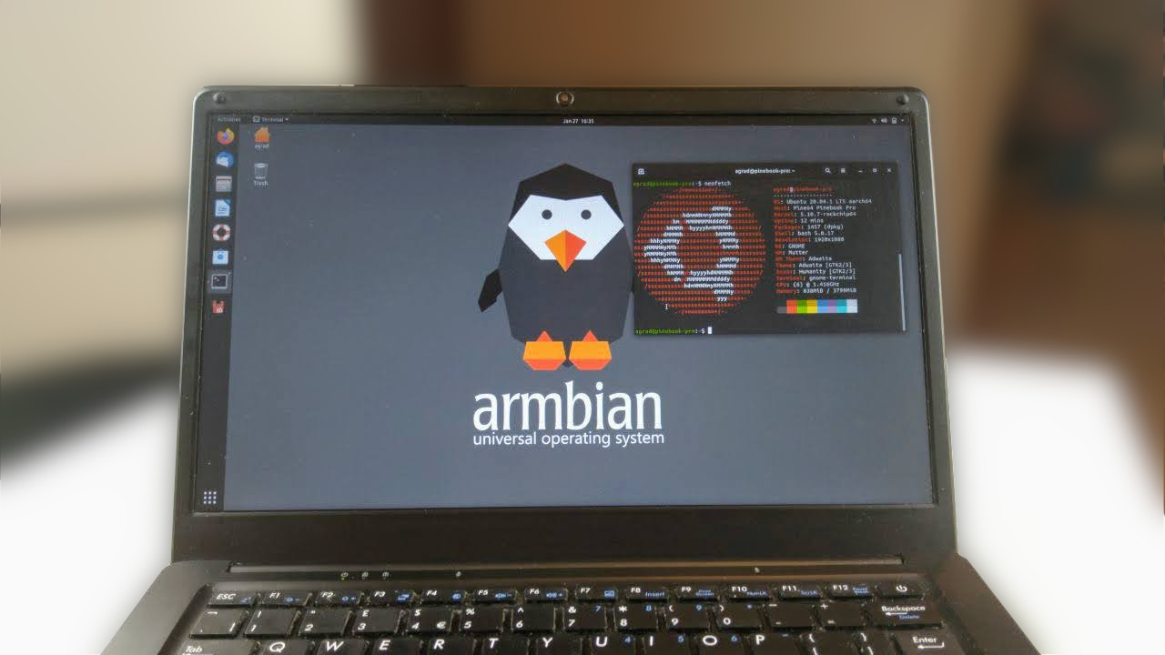 Armbian Desktop (Gnome on the Pinebook Pro)