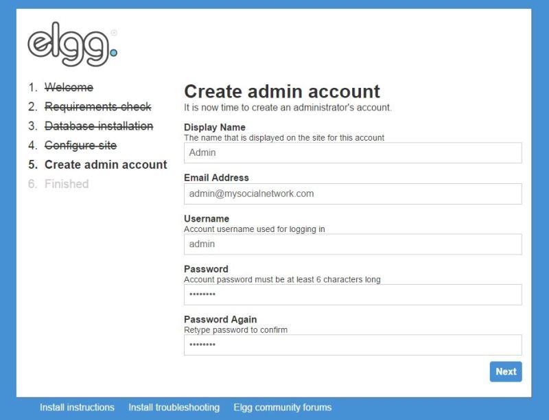 create admin account