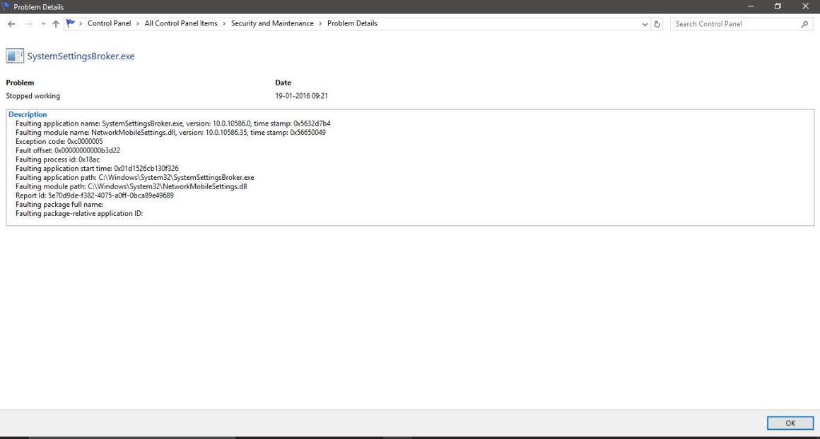 Сведения о проблеме или сводка в мониторе надежности Windows 10
