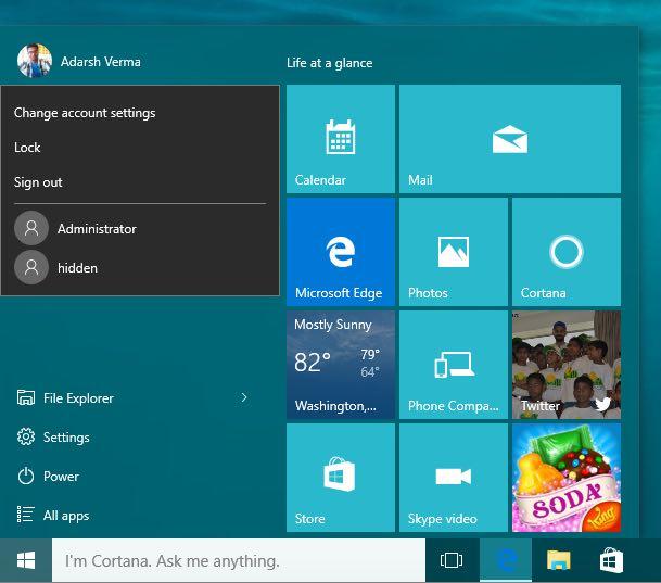 windows 10 hidden user activate 7