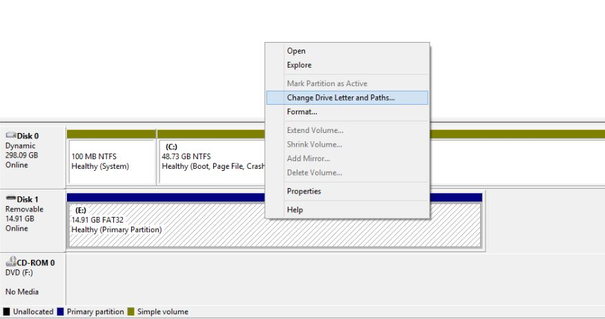 How to change drive letter in windows