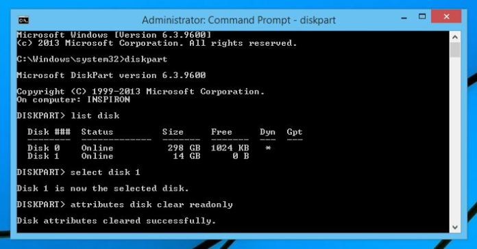the disk is write protected diskpart