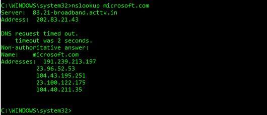 nslookup web servers
