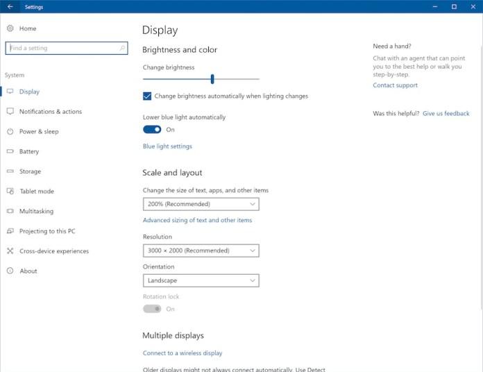 settings-display-windows 10 creators update