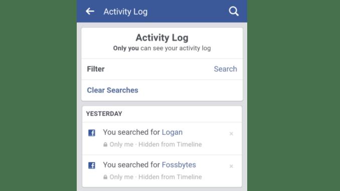 Delete Facebook Search History 4