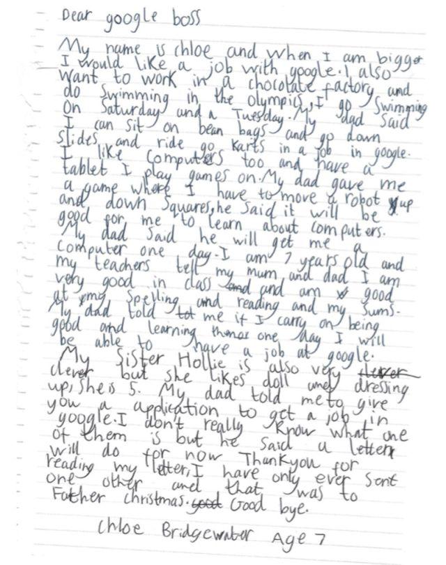 Chloe Bridgewater Letter Google