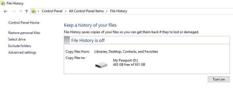 FH4 Windows FIle History