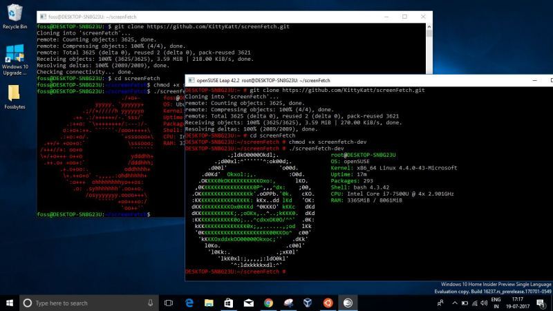 ubuntu suse on windows 10